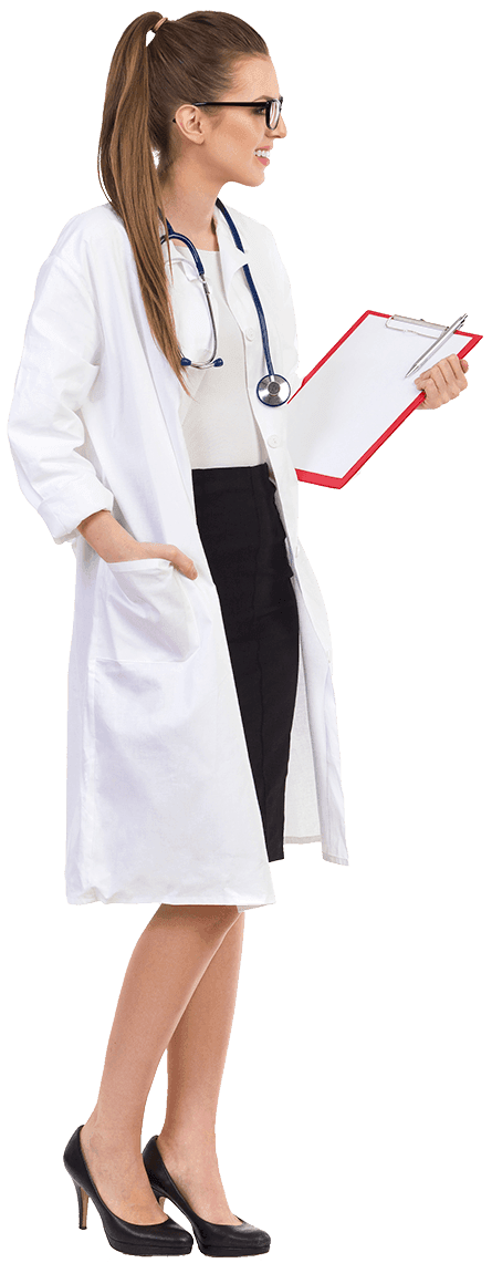 Female doctor looking right
