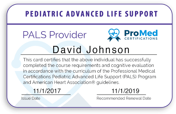 ProMed Certifications PALS Provider Card Preview